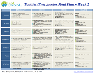 A sample meal plan for a toddler