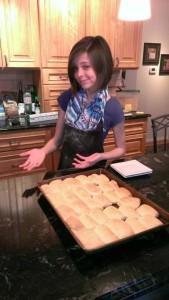 Alexandra, age 12, baking parker house rolls
